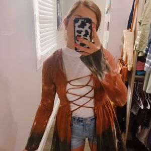Earthbound Earthy Toned Lace Up Tunic